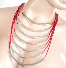 COLLANA girocollo ROSA FUCSIA ARGENTO donna multifili collier cerimonia Halskette F280