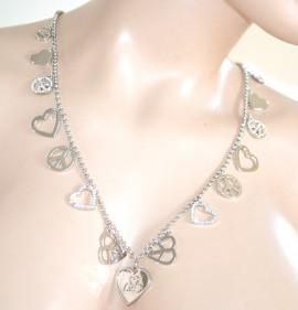 COLLANA LUNGA argento ELEGANTE girocollo donna CIONDOLI catena anelli strass  CUORE 765 19bd44aa638