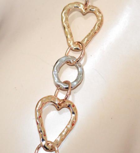 COLLANA LUNGA CUORI donna argento oro dorato anelli collier necklace colar GP32