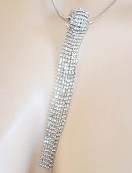 COLLANA LUNGA donna ARGENTO elegante girocollo da cerimonia laccio ciondolo fili strass cristalli E95