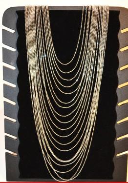 COLLANA LUNGA donna ORO diamantata elegante MULTI FILI da cerimonia collier C330