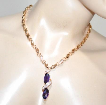 96713a46d6 COLLANA ORO donna ciondoli cristalli viola ametista girocollo collier  strass elegante GP8
