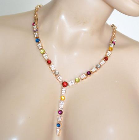 COLLANA ORO donna girocollo collier pietre cristalli blu turchese rosso rubino verde giada lilla ambra strass N42