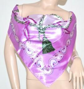 FOULARD donna quadrato 90x90 raso lucido fantasia  lilla scarf 92