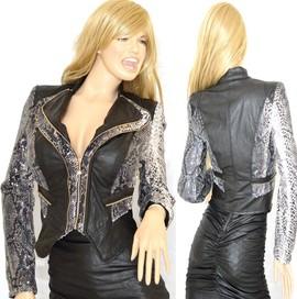 GIUBBINO donna Giacca Slim Giubbotto eco Pelle e Paillettes stampato rettile Elegante Jacket chaqueta jacke куртка G07