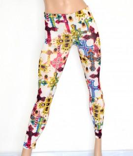 Leggings pantalone donna  bianco sexy pantacollant aderente fuseaux elastico fantasia multicolore 40