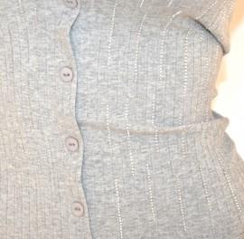 MAGLIA GRIGIO donna maglietta sottogiacca cotone mezza manica corta strass E165