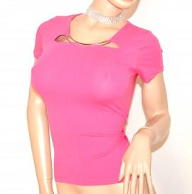 MAGLIA ROSA FUCSIA donna sottogiacca T-SHIRT manica corta elegante girocollo cotone E98