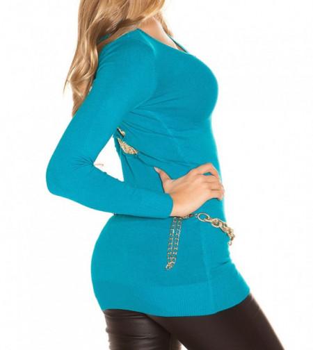 MAGLIETTA AZZURRA TURCHESE donna maglia paillettes oro manica lunga sottogiacca AZ16