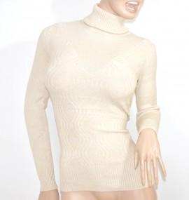MAGLIETTA BEIGE AVORIO maglia donna collo alto maniche lunghe maglione lana pullover sottogiacca E15