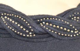MAGLIETTA BLU donna girocollo maniche lunga maglia sottogiacca maglione strass chiodini Z15