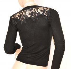 MAGLIETTA NERA cardigan donna ricamata strass maglia maglione sottogiacca F115