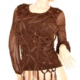 Maglione donna marrone ELEGANTE maglietta manica lunga velata maglioncino fiori oro 105