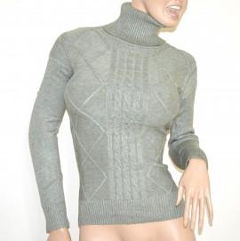 253718a810692f MAGLIONE VERDE ACQUA collo alto donna maglietta manica lunga dolcevita  pullover G1