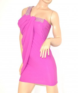 Mini abito donna ELEGANTE vestito fucsia sexy tubino dress kleid vestido miniabito clubwear 2