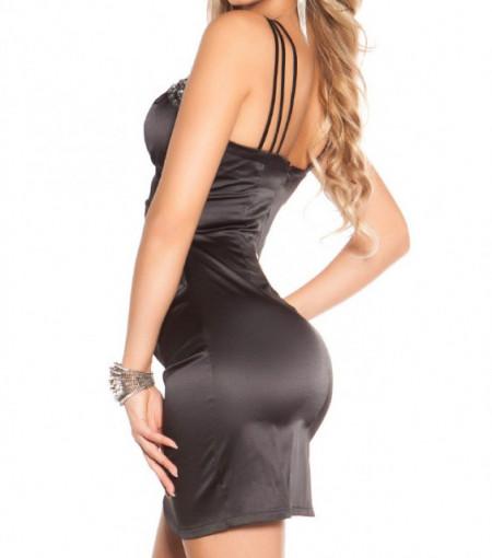 MINI ABITO NERO donna vestito corto tubino bretelle cristalli elegante dress A32