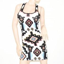 MINIABITO donna vestito cotone nero bianco strass copricostume abitino mini dress vestido 73