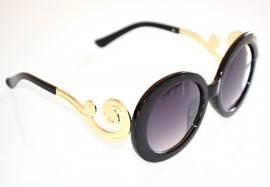 OCCHIALI da SOLE donna lenti tonde nere oro aste oro A4