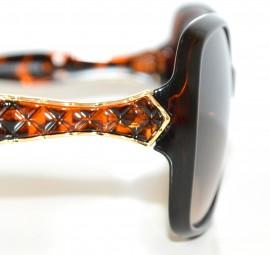 OCCHIALI da SOLE donna MARRONE NERO ORO vernice lenti ovali sunglasses очки lunettes E10