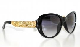 OCCHIALI da SOLE donna NERI ORO fiori montatura dorata FLOREALE lunettes 75
