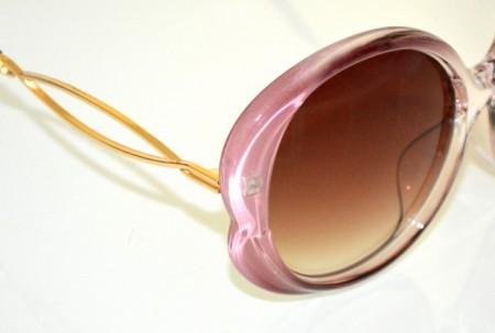 OCCHIALI da SOLE donna ROSA GLICINE lenti ovali marrone aste oro dorato óculos de sol BB14
