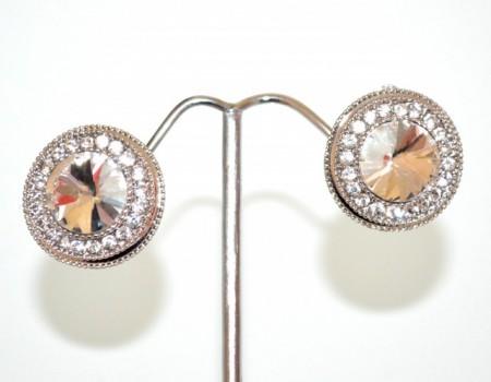 ORECCHINI a CLIPS donna argento cristallo trasparente bottone a lobo strass cerchietto CC92