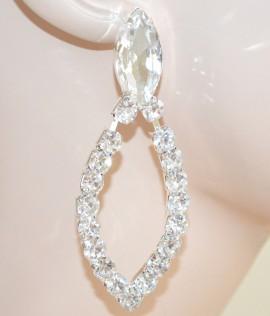 ORECCHINI argento donna eleganti da sposa cristalli goccia matrimonio cerimonia Z23