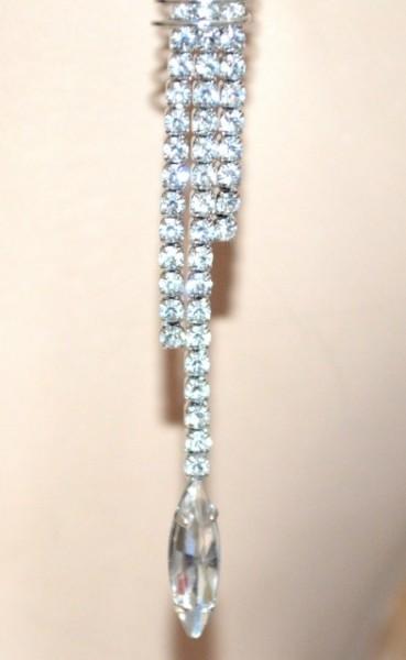ORECCHINI argento donna STRASS eleganti CRISTALLI da cerimonia pendenti boucles 1013