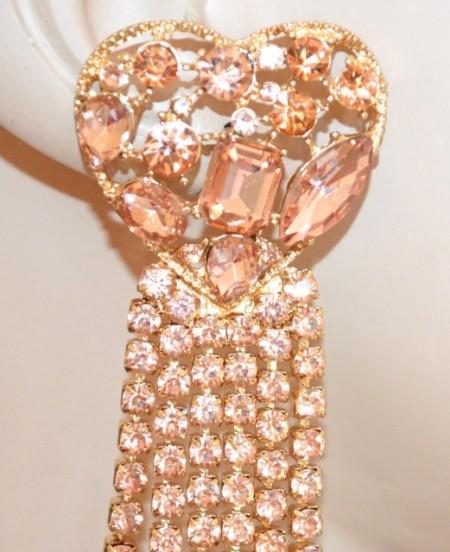 ORECCHINI CUORI donna oro strass cristalli rosa cipria corallo fili pendenti BB5