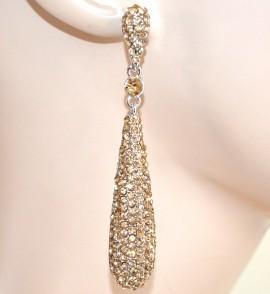 ORECCHINI donna argento strass ambra eleganti pendenti cristalli cerimonia E59