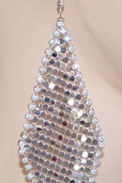 ORECCHINI donna ARGENTO strass cristalli luccicanti eleganti cerimonia sposa 309