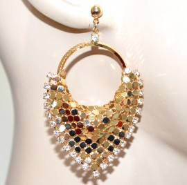 ORECCHINI donna oro dorati cerchi pendenti cristalli strass nido d'ape chic G31