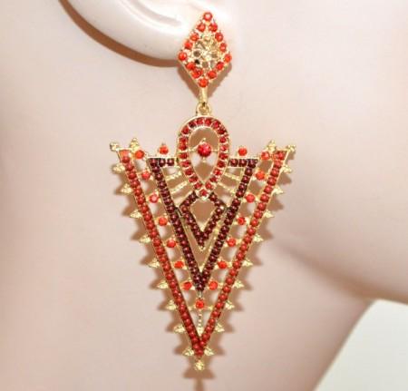 ORECCHINI donna oro dorati strass rossi bordeaux perline pendenti eleganti CC158
