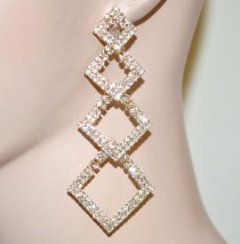 ORECCHINI donna oro\dorato pendenti strass\cristalli bianchi luccicanti eleganti cerimonia 75