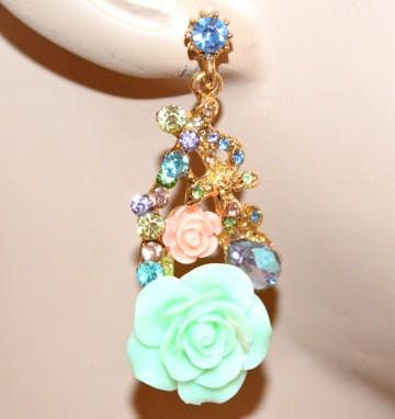 ORECCHINI donna oro MULTICOLORE pendenti fiori strass cristalli örhängen BB6
