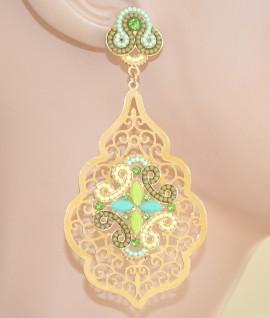 ORECCHINI donna ORO perline VERDI eleganti dorati FILIGRANA pendenti PIETRE 80X