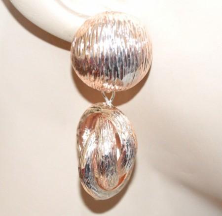 ORECCHINI donna oro rosa pendenti cerchi anelli bombati metallo lucido pendientes BB28