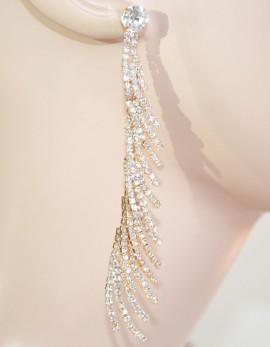 ORECCHINI donna ORO ROSA strass CRISTALLI pendenti lunghi da SPOSA eleganti da cerimonia Z3