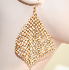 ORECCHINI donna ORO STRASS pendenti dorati CRISTALLI brillantini earrings 1405