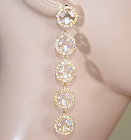 ORECCHINI ORO donna cerchi strass pendenti lunghi dorati cristalli brillantini eleganti D8