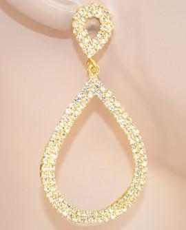 ORECCHINI ORO donna ELEGANTI cristalli da cerimonia STRASS pendenti ovali dorati 60X