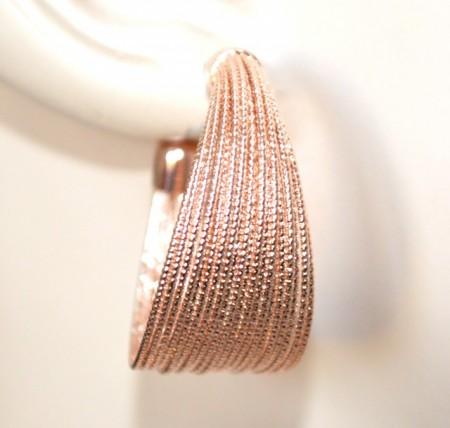 ORECCHINI oro rosa cerchi donna semi aperti diamantati zigrinati gold earrings BB50