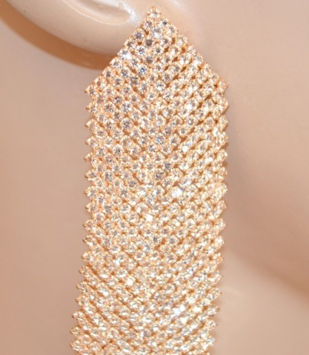 ORECCHINI ORO ROSA donna pendenti lunghi fili strass cristalli eleganti cerimonia BB3