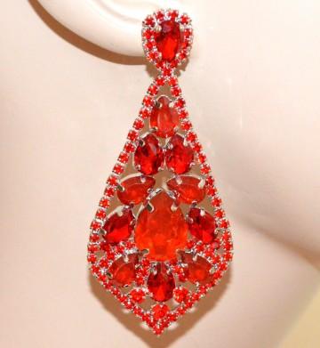 ORECCHINI ROSSI donna pendenti lunghi cristalli gocce pietre strass eleganti BB4