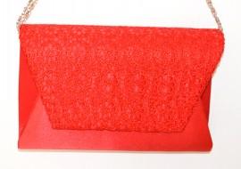 POCHETTE ROSSA borsello donna pizzo ricamato borsetta clutch borsa elegante da sera E165