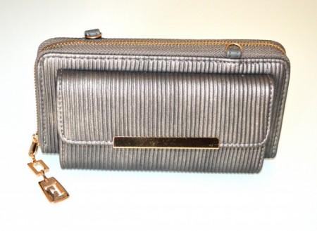 PORTAFOGLIO grigio oro mini borsello donna pochette clutch bag portamonete G90