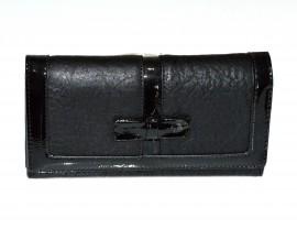 PORTAFOGLIO NERO donna portamonete borsello a mano eco pelle vernice clutch G3