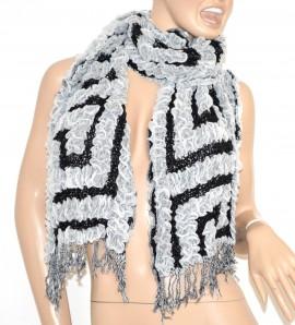 SCIARPA BIANCO NERO donna lana scaldacollo scarf frange écharpe szalik шарф 40