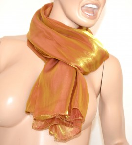 SCIARPA donna maxi foulard ORO BRONZO pashmina tinta unita sciarpetta metallizzata scarf bufanda 15
