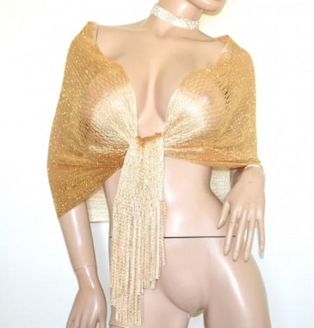 STOLA ORO RETE donna filo foulard maxi dorato scialle frange coprispalle elegante G62